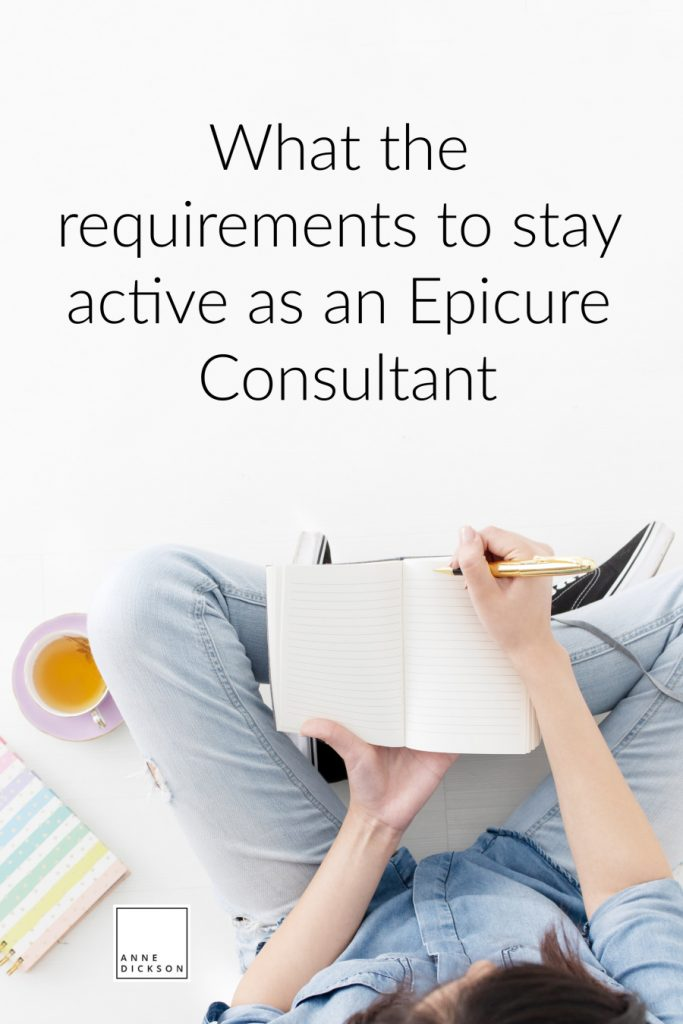 what are the requirements to stay active as an Epicure Consultant