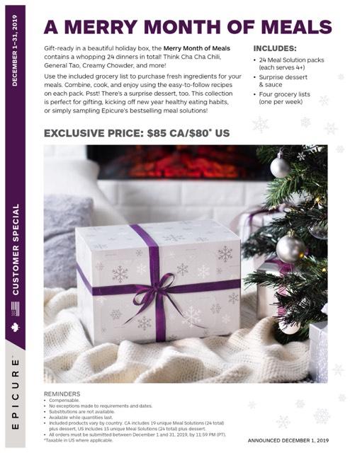 Epicure Advent Calendar - Merry Month Meals 3