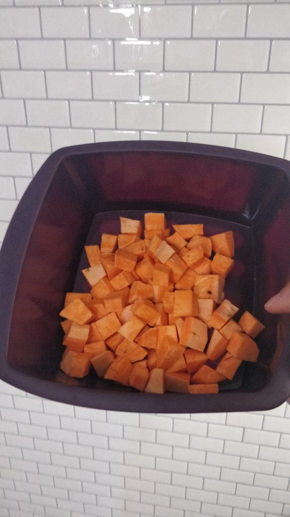 sweet potatoes in the steamer