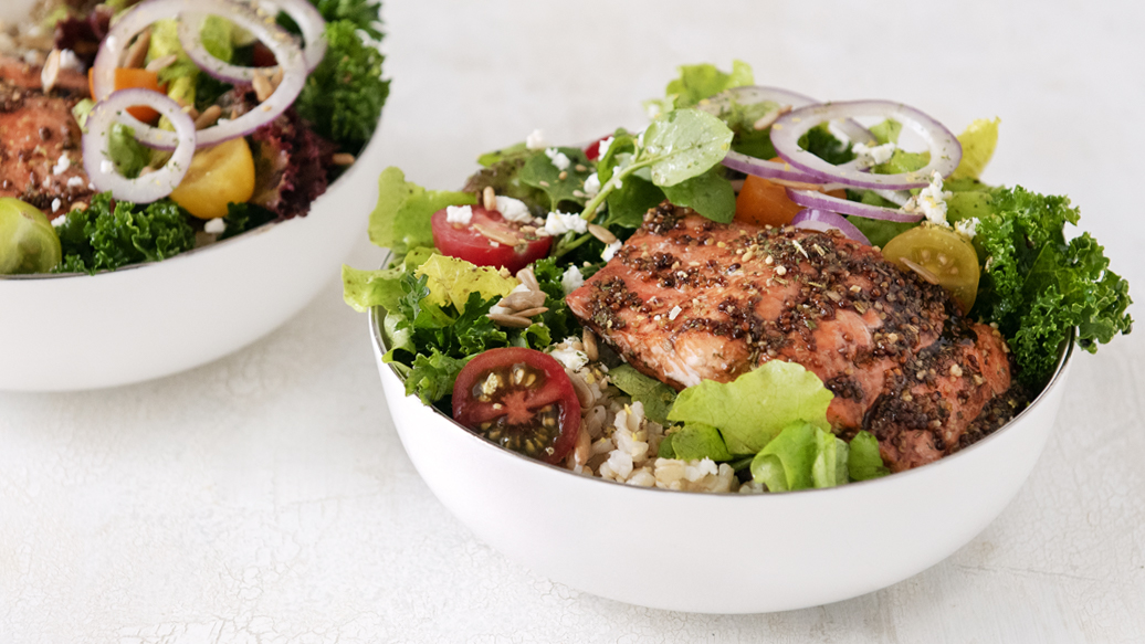 Balsamic Glazed Salmon Salad Bowl