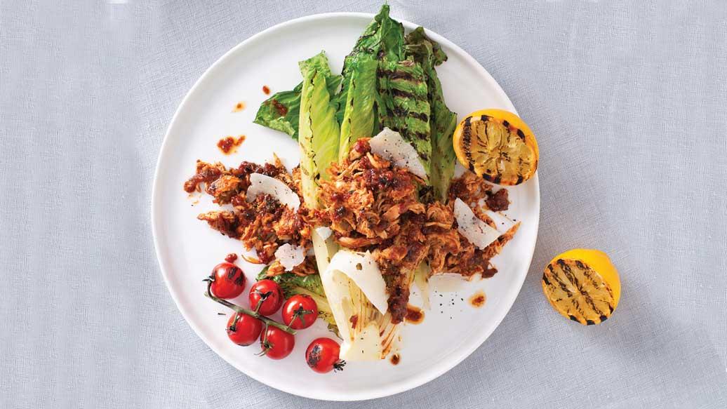 Pulled Chicken Grilled Caesar Salad