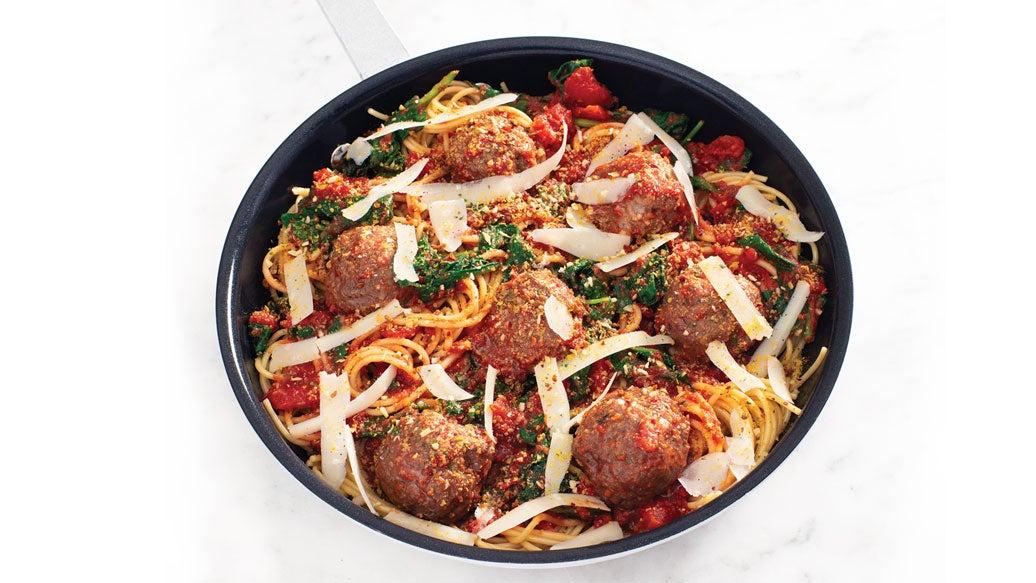 Spaghetti, Spinach & Meatballs